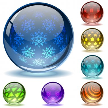 Glossy colorful abstract Christmas globes with different inner