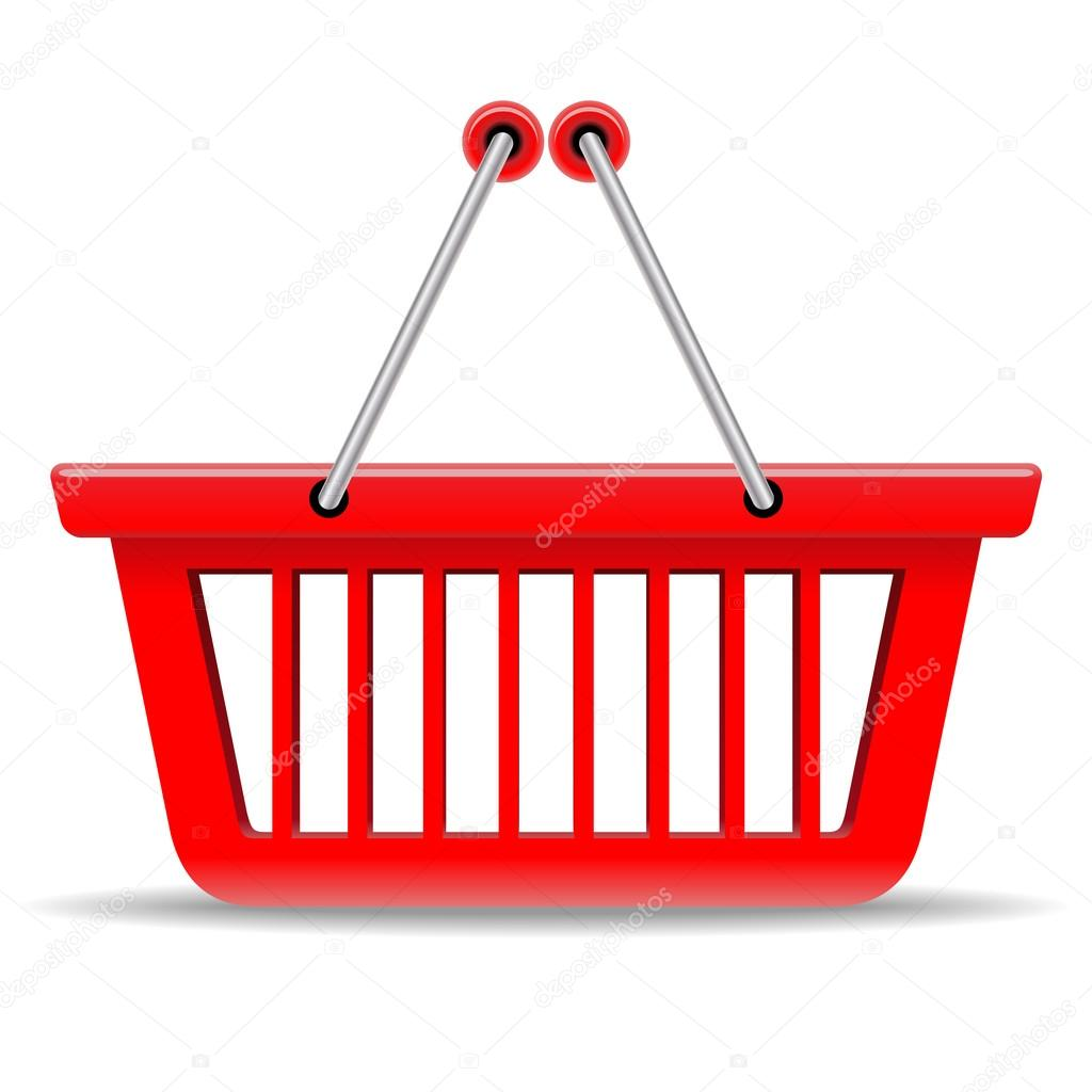 Empty red shopping basket vector icon isolated on white backgrou
