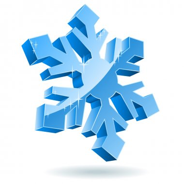 3D vector snowflake isolated on white background.