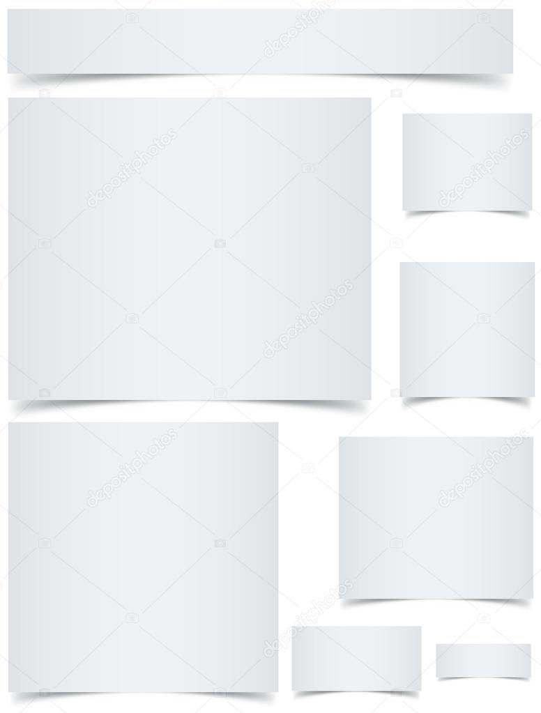 Standard sized blank web banners with curled edges effect