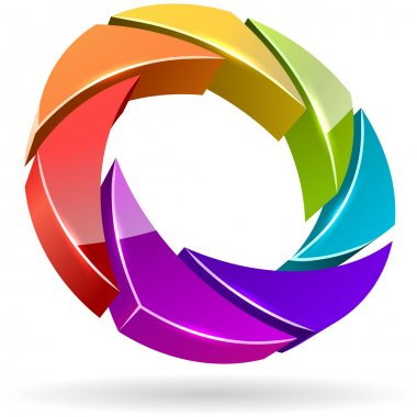 Colorful photo shutter 3D icon.