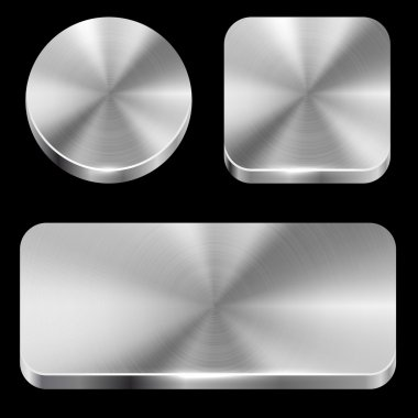 Blank brushed metal buttons isolated on black background vector