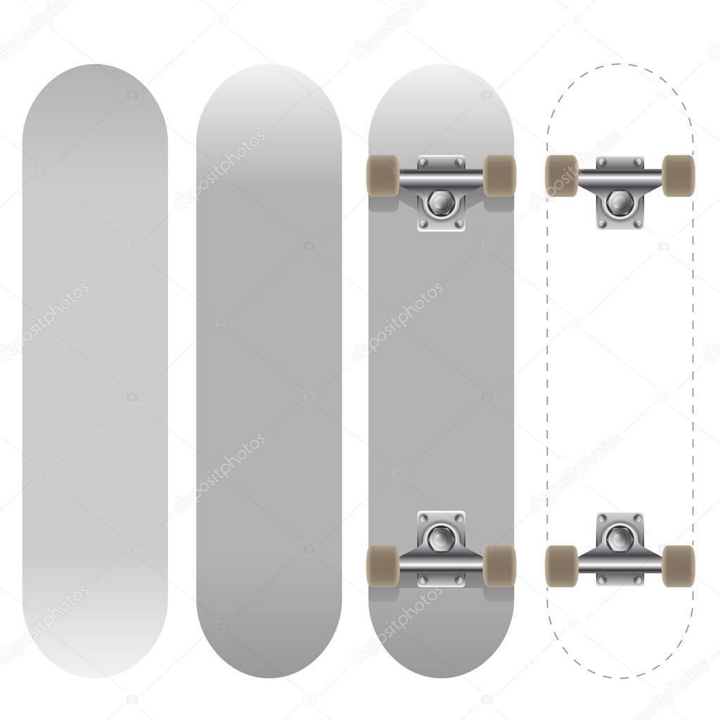 Blank white skateboard template — Stock Vector © tuulijumala #30346939