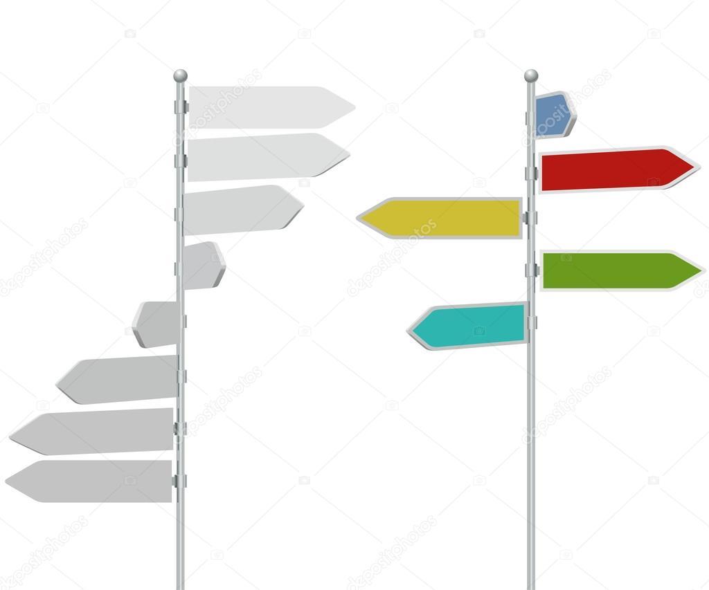 Dirección flecha señal post plantilla — Vector de stock ...