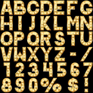 Golden alphabet with show lamps