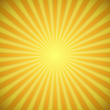 Sunburst bright yellow and orange vector background with shadow