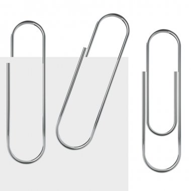 Metal paperclip vector template isolated on white background.