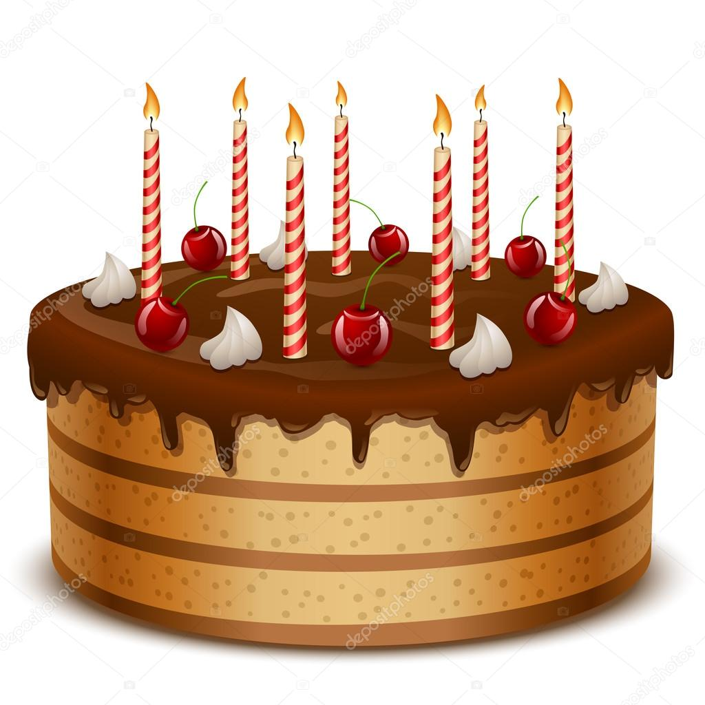 Birthday Cake With Candles Isolated On White Background