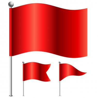 Red flags vector illustration with 3 shape variants.