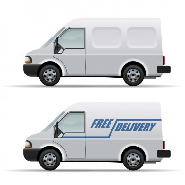 White delivery van realistic vector icon isolated on white backg