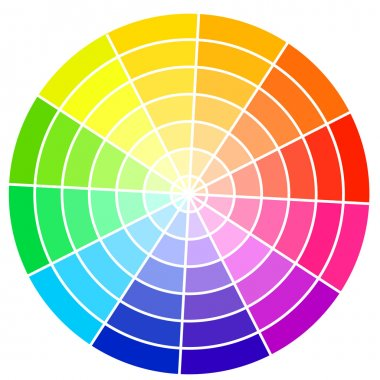 Standard color wheel isolated on white background vector illustr