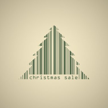 Christmas tree bar code sale banner vector template.
