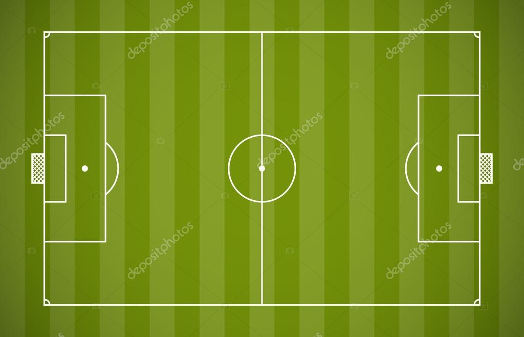 soccer field lining vector template on green background stock
