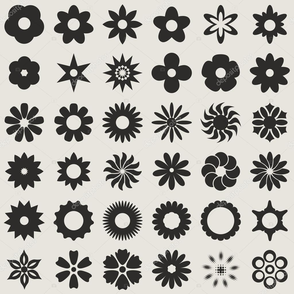 Black and white abstract flower bud shapes vector set.