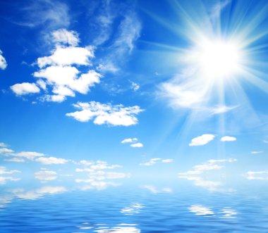Very beautiful sunny sky on the sea background