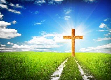 Way walking towards a cross