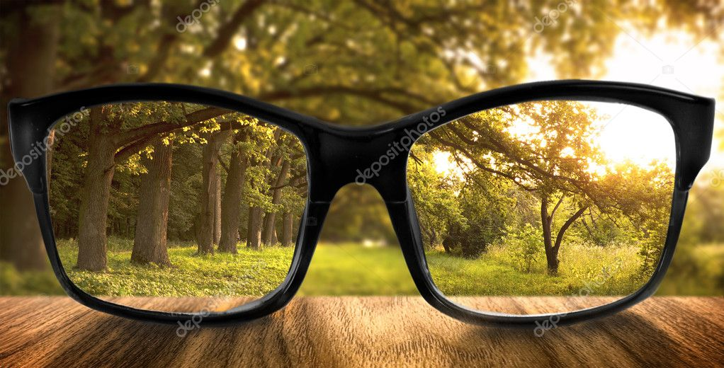 Clear forest in glasses