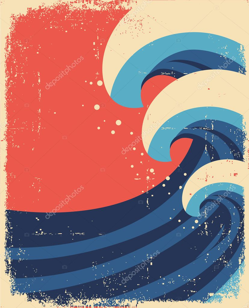 Sea waves poster.Grunge illustration of sea landscape.