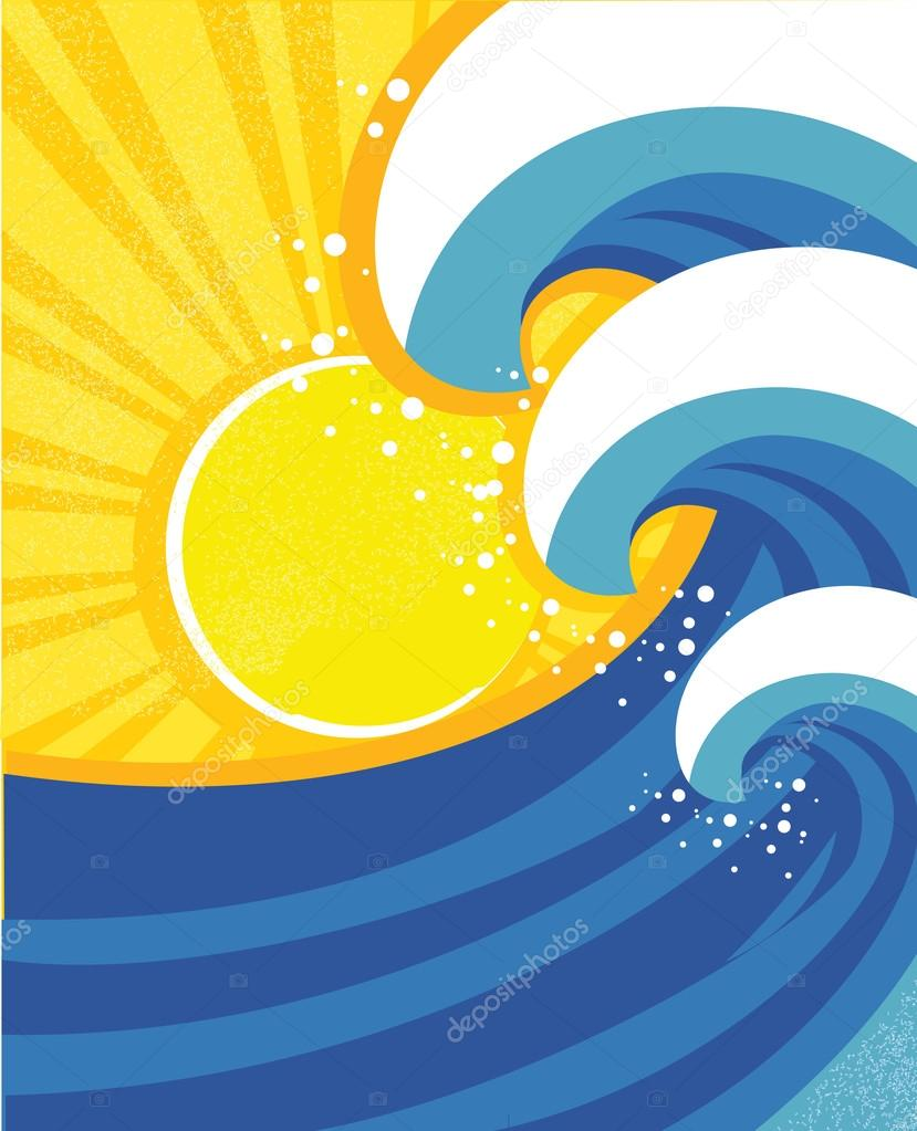 Sea waves poster. Vector illustration of sea landscape.