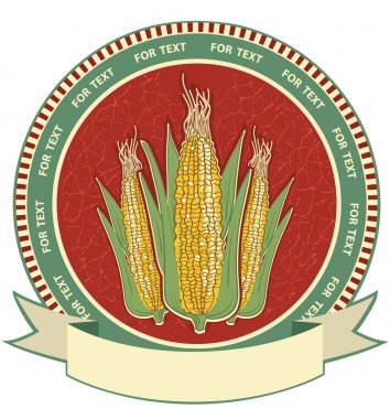 Corn label.Vector retro image