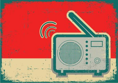 Retro radio.Vector grunge poster on old texture