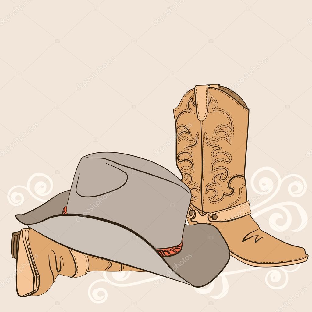 Vectores sin royalties similares  Botas vaqueras y sombrero. Ilustración  gráfica de ... de86a1042ad