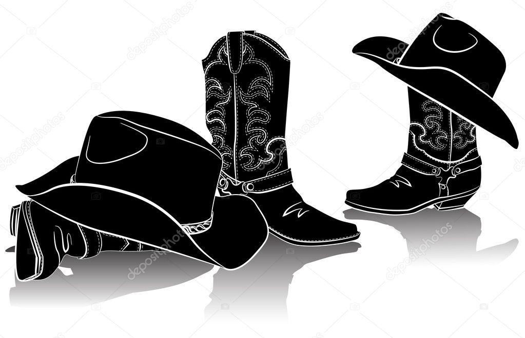 Botas vaqueras y hats.black occidental imagen gráfica en blanco - silueta  de botas vaqueras — Vector de GeraKTV — Vector de GeraKTV 70f45299bea