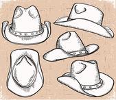 Kovbojský klobouk kolekce izolované na bílém pro design
