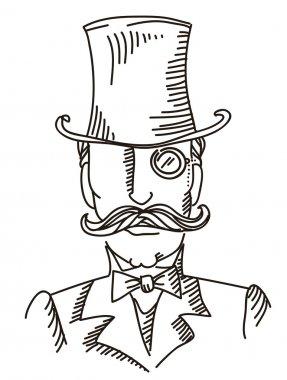 Retro man portrait in a top black hat.Vector graphic illustratio