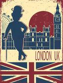 Anglický gentleman v Londýně ba buřinka čepice a cane.vintage