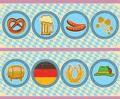 Vintage Bier Elemente mit Oktoberfest-Symbol auf alten Papier-Texture