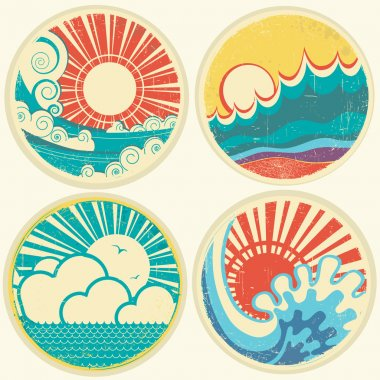 vintage sun and sea waves. Vector icons of illustration of seas