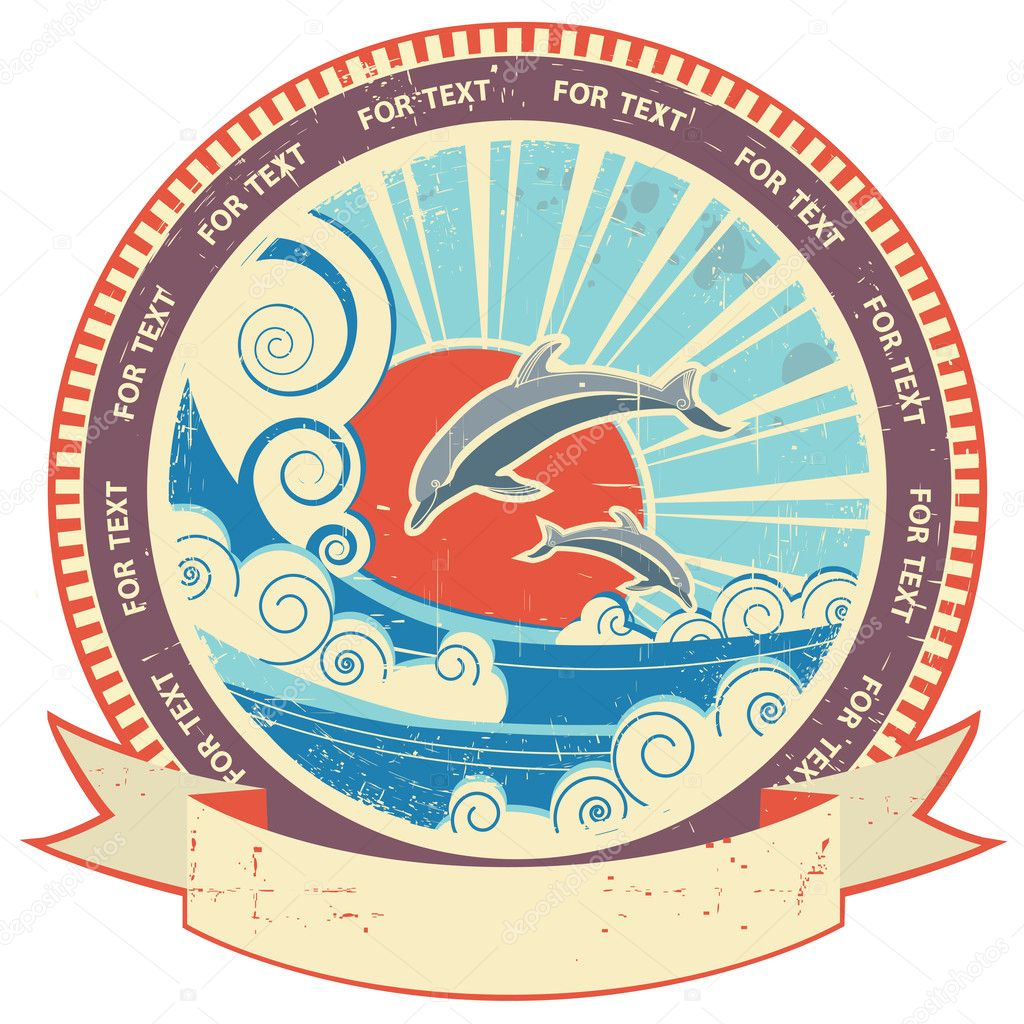 Dolphins in sea waves.Vintage label and scroll for text on old t