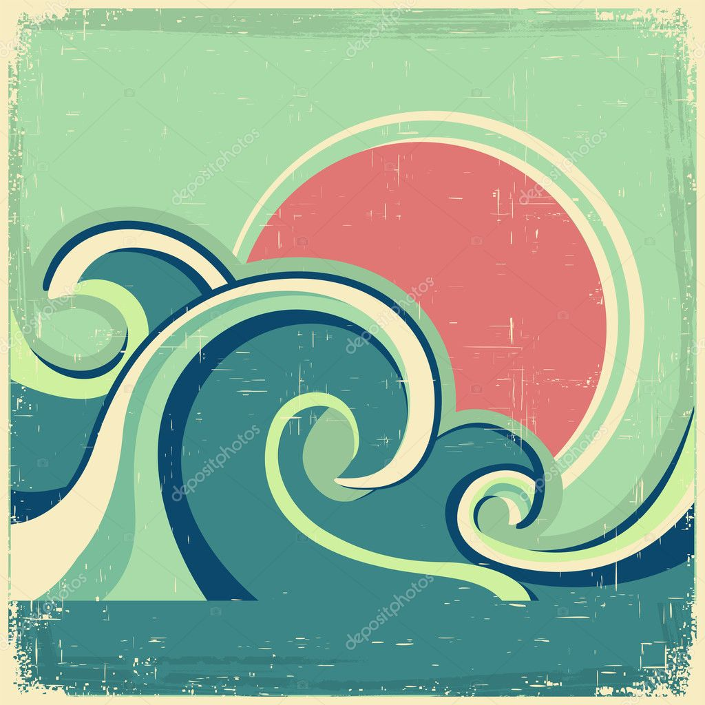 Vintage poster.Vector abstract seascape poster with sea waves an