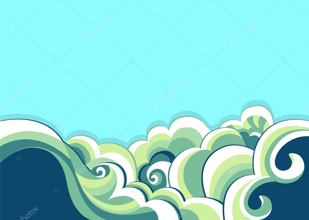 Blue sea and nature background.Vector illustration of seascape