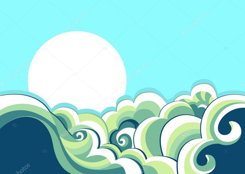 Sea waves. Vintage illustration of sea landscape