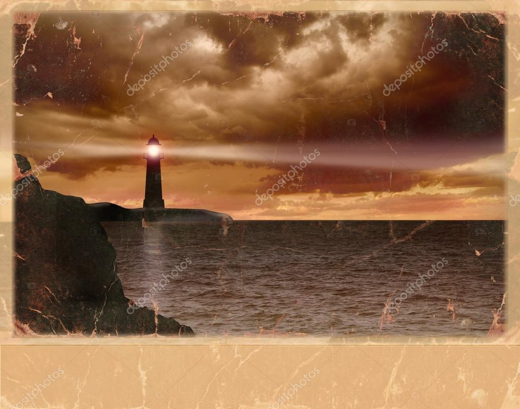 Vintage card of lighthouse and seascape and dark clouds on old