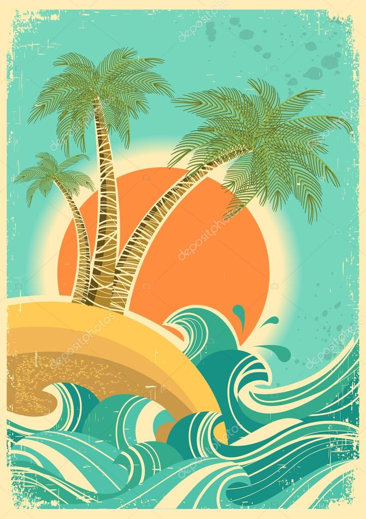 Vintage nature sea with waves and sun.Vector retro poster on old
