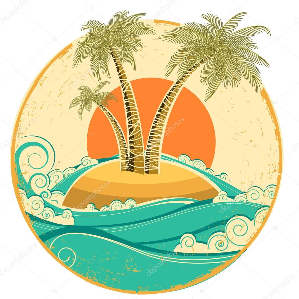 VIntage tropical island.Vector symbol seascape with sun on old p