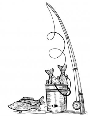Fishing rod and fishes.Vector black drawing illustration