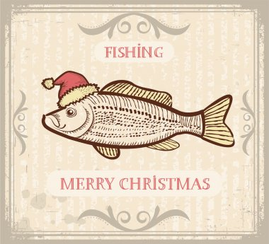 Christmas image of Fishing with fish in Santa hat .Vector drawi