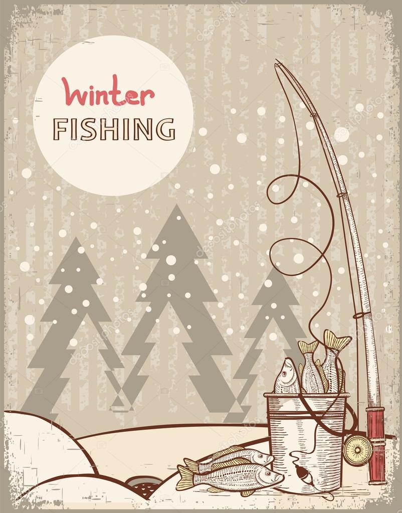 Fishing in Christmas night.Vintage winter image with Santa