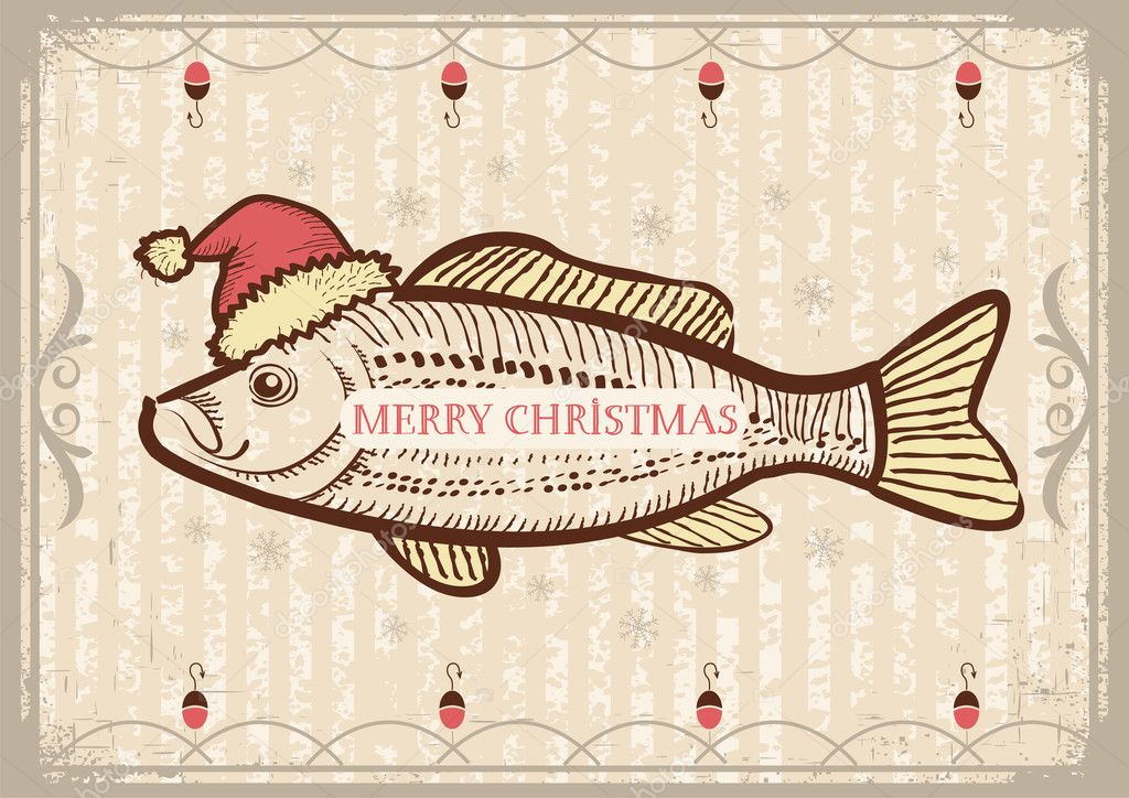 Christmas fish in Santa red hat.Vintage drawing card on old text