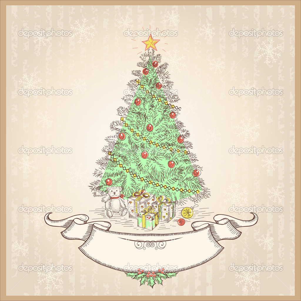 Vintage Christmas Tree Vector Illustration With Old Scroll Vector Image By C Geraktv Vector Stock 32270751
