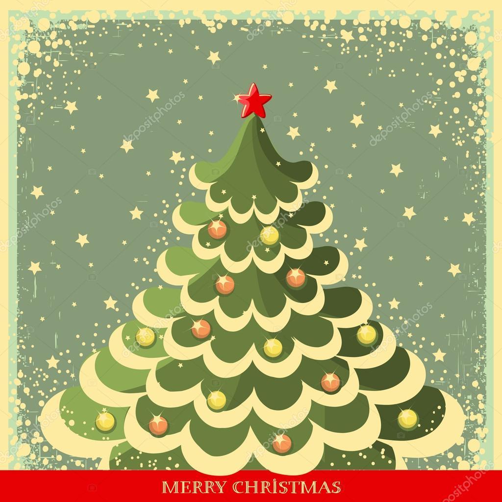 Vintage Christmas background with tree — Stock Vector © GeraKTV ...