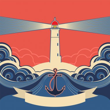 Lighthouse label with anchor and blue sea waves