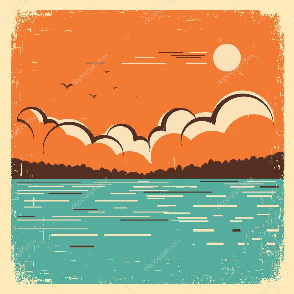 landscape with blue big lake on old poster