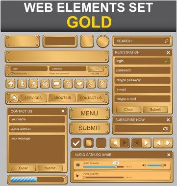 Web design elements set. Gold