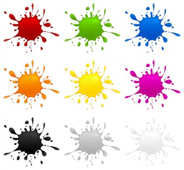 Set of different color inkblots on white background, vector illustration stock vector