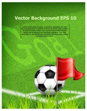 Football (soccer) ball near corner flag and text